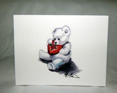 Teddy Bear With Chocolates note cards and Art