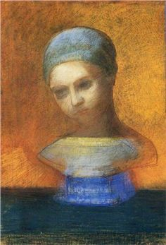 Symbolist painter Odilon Redon (French: 1840 – 1916) | Small Bust Of A Young Girl