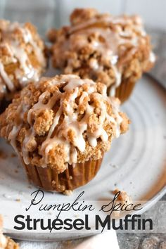 Pumpkin Spice Struesel Muffin These pumpkin muffins with cinnamon streusel are everything I love about fall baking! Moist, sweetly spiced pumpkin muffins are topped with the perfect streusel plus an optional maple icing! Pumpkin Recipes, Fall Recipes, Spiced Pumpkin, Fall Desserts, Dessert Recipes, Brunch Recipes, Best Pumpkin Muffins, Cinnamon Muffins, Cinnamon Streusel Muffins