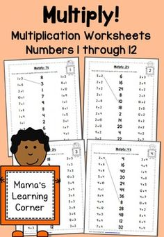Multiplication Worksheets: Numbers 1 through 12 . Practice multiplication facts with this set of multiplication worksheets! 1 worksheet for each number Printable Multiplication Worksheets, Math Multiplication, Math For Kids, Fun Math, Math 2, Math Resources, Math Activities, Third Grade Math, Maila