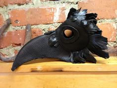 Black Leather Crow / Plague Doctor Mask Steampunk Cosplay by Carolina Gothics, $148.00 USD