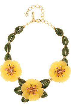 OSCAR DE LA RENTA Peony gold-plated, resin and crystal necklace