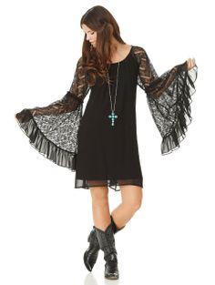 2tee Couture Victoria Lace Dress - Bohemian black chiffon dress with lace sleeves and chiffon ruffle