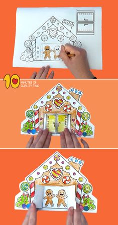 Gingerbread House With Opening Doors Printable Template Gingerbread House With Opening Doors B&W printable [avia_codeblock_placeholder uid= Homemade Gingerbread House, Halloween Gingerbread House, Gingerbread House Patterns, Cool Gingerbread Houses, Gingerbread Men, Fun Christmas Activities, Christmas Printables, Kids Christmas, Christmas Door Decorating Contest