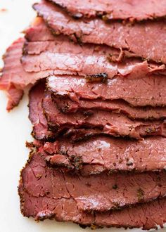 An easy homemade Pastrami for everyone who does have a Jewish deli next door. The pastrami is tender, juicy and has the signature pastrami spice crust. This is astonishingly easy to make! More from my Deli Meat Pastrami Sandwich, Sandwiches, Meat Recipes, Slow Cooker Recipes, Cooking Recipes, Pastrami Recipe Slow Cooker, Jewish Recipes, Corned Beef Pastrami Recipe, Beef