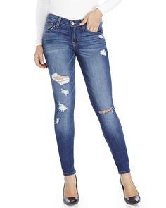 FLYING MONKEY Blue Destroyed Skinny Jeans