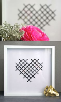 DIY cross stitched heart print