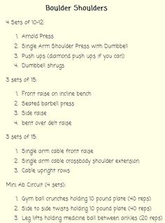 Shoulder Workout... so I did this today! Shoulders were blazing after the first 4 sets!!! Started with 15 min of cardio and ended with 30 min (had to make up for that cupcake I had today at lunch! Lol!) Anyway, this is a fantastic shoulder and mini ab workout. I'm afraid to go sleep and wake up in the morning. I know I'm going to feel the pain!!!