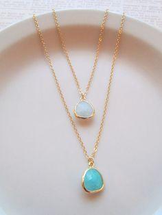 16K Gold Layered Necklace - Cracked Quartz Ocean Teal Blue. $32.00, via Etsy.