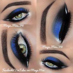 Beautiful Blue,  gel liner,pencil and eyeshadows.