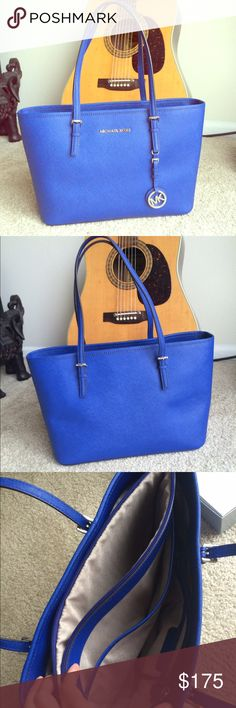 Like New-Michael Kors Jet Set Saffiano Leather Michael Kors Jet Set Saffiano Leather Tote! Dust bag included!! Like new- barely used! Excellent condition! Beautiful blue color! Michael Kors Bags Totes
