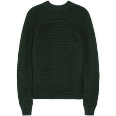 Alexander Wang Ribbed cotton-blend sweater ($210) ❤ liked on Polyvore featuring tops, sweaters, jumpers, alexander wang, shirts, dark green, ribbed crop top, shirt sweater, alexander wang shirt and ribbed sweater