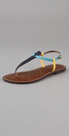 d73b5291b6f20b Sam Edelman Gigi Colorblock T Strap Flat Sandals