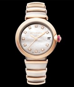 Bulgari Lvcea in 18 karat rose gold, 33mm with mother of pearl dial. Available at Cellini Jewelers