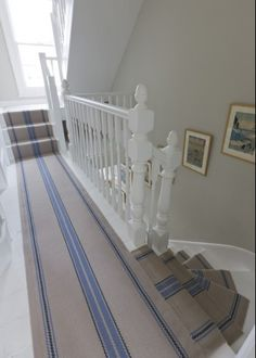 Cluny Denim from Roger Oates Design Blue Striped Rug Staircase Design Ideas, Pictures, Remodel and Decor