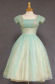Charming Sea Green Chiffon 1960's Cocktail Dress w/ Flowing Back