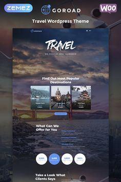 Awesome travel WordPress theme with Woocommerce support. Plus it's made for Guttenberg editor and you can customized all you want as it also supports Elementor page buidler Goroad - Travel Agency Multipurpose Modern Elementor WordPress Theme Travel Agency Website, Travel Website Design, Website Design Layout, Web Layout, Wordpress Theme, Wordpress Template, Website Design Inspiration, Canada Tours, Webdesign Layouts