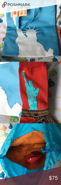 🗽NWT Statue of Liberty JILL Tote + matching socks Never used Transversion thick quality vinyl tote. On the slender side (good for an iPad, magazine, sketch pad and dark chocolate bar). Silky orange super fun interior design with drawstring closure and interior pocket. I could not resist including a pair of Statue of Liberty socks! For your Lady Liberty fan (or you) to fit all your essentials on your next flight to France. Ask any questions! Transversion Loop NYC Bags Totes