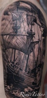 black and grey ship tattoo - Remis tattoo
