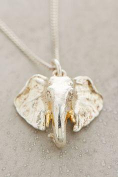 Anthropologie Animal Pendant Necklace, Sterling Silver Delicate Elephant Pendant #BillSkinner #Pendant