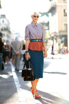 Love the color and patterns in this outfit. Captured on the streets of Milan by Mr. Newton