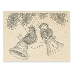 Peppermint Sledding Stampendous Wood Stamp