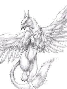 Images of mythical creatures drawings - Mythical Creatures Art, Mythological Creatures, Magical Creatures, Fantasy Creatures, Creature Drawings, Animal Drawings, Griffon Tattoo, Griffin Drawing, Griffin Mythical