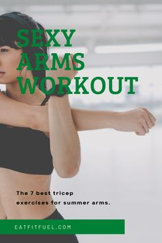 Get toned and strong summer arms with these seven tricep exercises. What you need to do for strong summer ready arms. The best workout for lean and toned summer arms. You can be summer ready with this simple at home workout.  #AtHomeWorkout #SummerBod #SummerReady Arm Workouts At Home, Fun Workouts, Exercise Routines, Forearm Workout, Triceps Workout, Best Tricep Exercises, Quick Full Body Workout, Healthy Lifestyle Tips, Healthy Habits