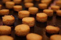 Easy peanut butter baked dog treats. Just PB, milk and rice flour.