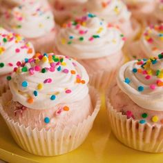 Strawberry ice-cream cupcakes. You can vary the flavors as you like, using different cake and/or ice cream. Great for parties.