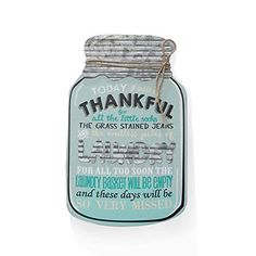 Barnyard Designs Rustic Today I Will Be Thankful Mason Jar Decorative Wood and Metal Wall Sign Vintage Country Decor 14 Country Farmhouse Decor, Vintage Country, Vintage Home Decor, Vintage Signs, Kitchen Art, Recipe Cards, Rustic Design, Wood And Metal, Home Decor Items