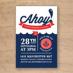 Ahoy Nautical Birthday Invitation for Kids Party by BonjourBerry