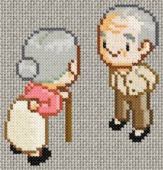 14/05/12 : Grille de point de croix gratuite - Couple de personnes âgés