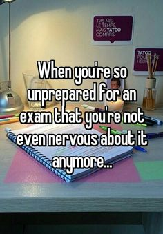 """""""When you're so unprepared for an exam that you're not even nervous about it anymore.""""- it's not funny how many times I've experienced this EXACT feeling College Humor, College Life, Funny College, Funny Quotes, Funny Memes, Funny Stuff, Hilarious, School Memes, School"""