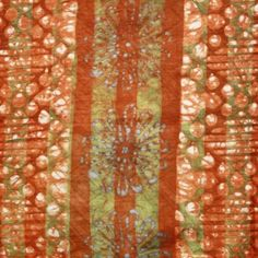 Batik Fabric Orange Green & White Craft, Fabrics, Textiles, Quilts, Orange, Sewing, Green, Home Decor, Tejidos
