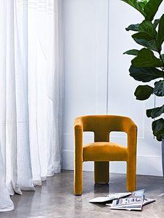 Tress Velvet Chair   Oliver Bonas Cosy Corner, Oliver Bonas, Designers Guild, Spare Room, Tub Chair, Mustard Yellow, Accent Chairs, Armchair, Velvet