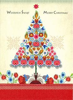 folk art pland | Polish Art Center - Polish Folk Christmas Card - Wycinanki Flower Tree