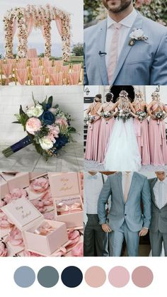 All Details You Need to Know About Home Decoration - Modern Blue And Blush Wedding, Pink Wedding Theme, Spring Wedding Colors, Blush Pink Weddings, Wedding Goals, Wedding Themes, Dream Wedding, Blue Silver Weddings, Wedding Decorations