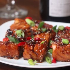Teriyaki Salmon Bites Recipe by Tasty For sauce/technique Salmon Dishes, Seafood Dishes, Seafood Recipes, Appetizer Recipes, Cooking Recipes, Healthy Recipes, Salmon Appetizer, Appetizers, Cooking Tv