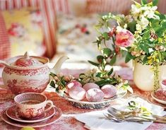 How to Throw a Spring Tea Party: 12 Steps (with Pictures). How to Throw a Spring Tea Party. A spring tea party can be a great time for you to relax and connect Tea Party Table, Party Set, A Table, Pink Table, Brunch Table, Easter Table Settings, Easter Table Decorations, Easter Decor, Easter Centerpiece