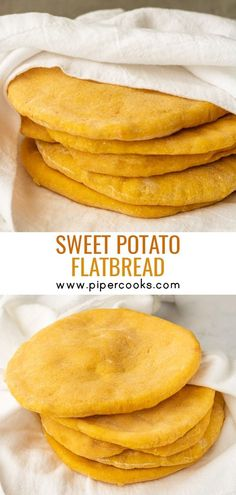 Sweet Potato Pita Bread PiperCooks These Sweet Potato Pita Breads are perfect for lunch with your choice of filling Pan fry to keep them pocket-less for an easy dinner like individual pizzas Sweet Potato Bread, Sweet Potato Recipes, Sweet Potato Crackers, Sweet Potato Cornbread, Sweet Potato Biscuits, Bread Recipes, Cooking Recipes, Cooking Ribs, Vegetarian Recipes