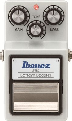 #Ibanez BB9: The Ibanez BB9 is a booster that provides a fat bottom end with a powerful sound, perfect for the player who wants to push their amp into overdrive without losing any of their low-end. This pedal is designed to help clean tones reverberate even more and bring more intensity to a player's sound. Combine it with a distortion pedal to create of a wide variety of tone colors. BB9 is also equipped with True Bypass switching.