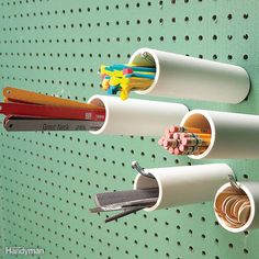 Pegboard Cubbyholes - Here's a tool storage technique for all those slender tools and shop accessories. Cut short lengths of PVC pipe and pipes work well for most items) and slide them over pegboard hooks. Then load them up with file Pegboard Shelf Bracket, Metal Pegboard, Pegboard Storage, Tool Storage, Garage Storage, Storage Ideas, Tool Pegboard, Paper Storage, Craft Storage