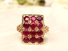 Vintage Ruby & Spinel Alternative Engagement Ring 14K Gold Filigree Wedding Ring Floral Art Deco Ruby Ring Size 6!