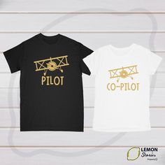 Pilot shirt Co-Pilot shirt, Price for 1 Tshirt, Pilot Co-Pilot shirts Honeymoon shirts Wedding gift Wedding shirts Anniversary shirts couple Pilot Wedding, Aviation Quotes, Plane Outfit, Aviation Fuel, Pilot Wife, Types Of T Shirts, Pilot T Shirt, Airplane Nursery, Sweet Caroline