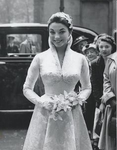 Joan Collins at her first wedding to Maxwell Reed , Vintage celebrity wedding dresses Celebrity Wedding Photos, Celebrity Wedding Dresses, Vintage Wedding Photos, Best Wedding Dresses, Vintage Bridal, Celebrity Weddings, Wedding Styles, Vintage Weddings, Country Weddings