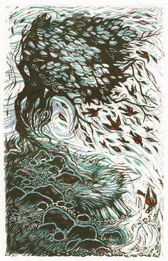 Red Winged Blackbirds and Talking Trees - Linocut print by Lori Stewart