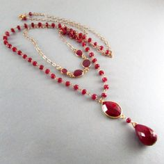 Ruby and Gold Filled Double Strand Necklace by SurfAndSand on Etsy