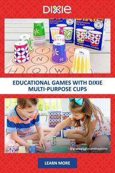 With Dixie® multi-purpose 5 oz. cups, some construction paper, and a marker, you can easily create simple games for your kids at home! From ABC matching games to solving multiplications, learning at home doesn't have to be boring. Pre K Activities, Preschool Learning Activities, Alphabet Activities, Fun Learning, Family Activities, Preschool Projects, Preschool At Home, Early Literacy, Construction Paper