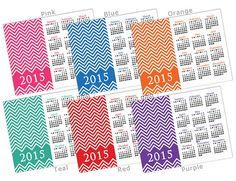 50 % RABATT SALE! 2015 Bright CHEVRON Kalender - Printable 8 x 10 (Wählen Sie Ihre benutzerdefinierte Farbe!) Digitale Pdf-Datei